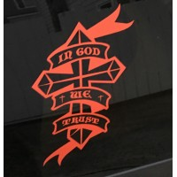 In God We Trust Cross Vinyl Decal / Sticker  (MADE IN THE USA)